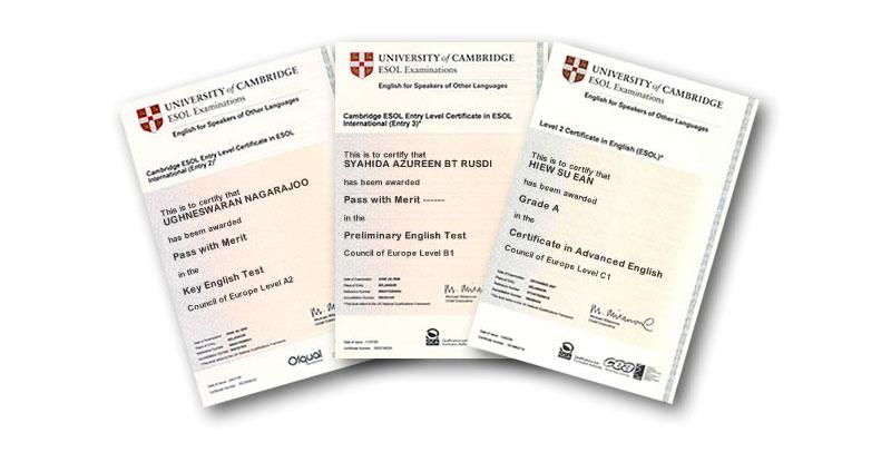 Certificados exámenes Cambridge University