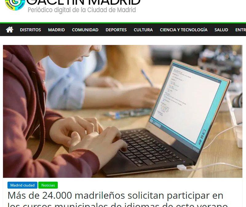 Gacetín Madrid se hace eco del gran éxito de solicitudes de los cursos intensivos del Ayuntamiento de Madrid que impartirá Cambridge Institute