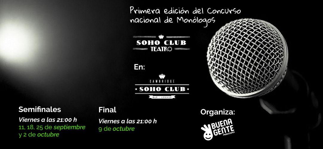 Soho Club Teatro estrena su programación de septiembre, con espectáculos de comedia, música en directo y monólogos